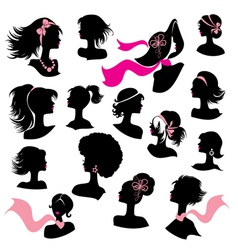 Set of woman and girl silhouettes with hair stylin vector image vector image