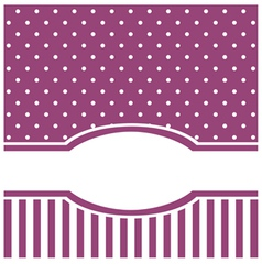 Violet card or invitation with white polka dots vector image
