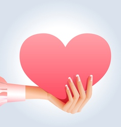 female hand holding pink heart vector image