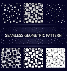 geometric square seamless patterns set vector image