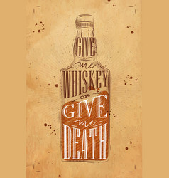 poster give me whiskey craft vector image