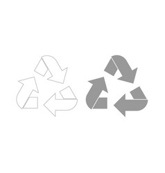 recycling arrows in a circle the grey color icon vector image vector image