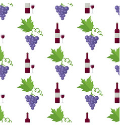 red wine in bottle and blue grape endless texture vector image
