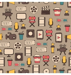 Seamless pattern of doodle colorful movie design vector image