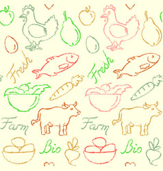 seamless pattern with farm food symbols vector image vector image