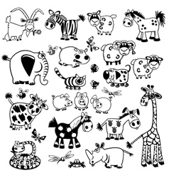set with black and white childish animals vector image vector image