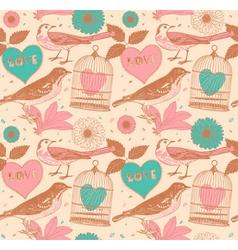 Vintage Love Birds Pattern vector image
