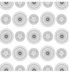 bike wheels and sprocket pattern background vector image