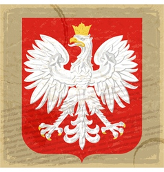 Coat of arms of Poland on the old postage card vector image vector image