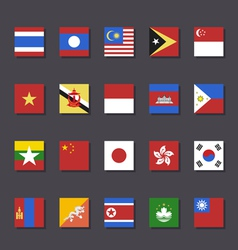 East Asia flag icon set Metro style vector image vector image