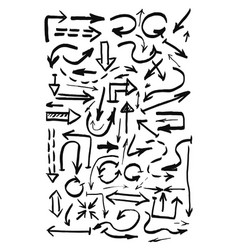 hand drawn black arrows vector image