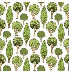 Hand drawn seamless pattern with green doodle vector