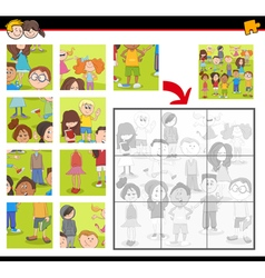 Jigsaw puzzle activity with kids vector
