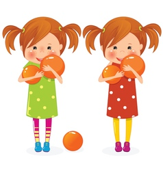 two girls twins with balls vector image vector image
