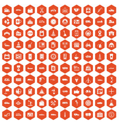 100 gas station icons hexagon orange vector