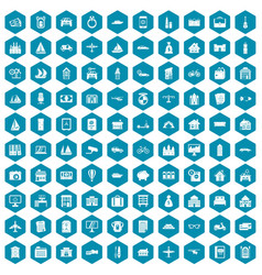 100 property icons sapphirine violet vector image
