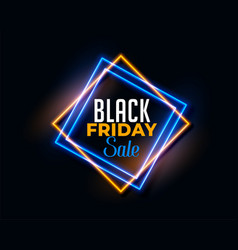 abstract black friday background in neon light vector image