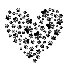 Adopt dog paw heart animal help vector