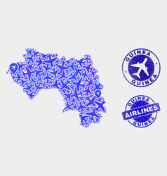 airlines collage republic guinea map and vector image