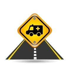 Ambulance yellow road street sign vector