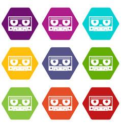Audio cassette tape icon set color hexahedron vector