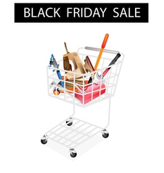 Auto Repair Tool Kits Black Friday Shopping Cart vector image