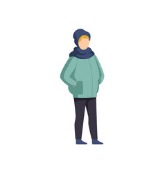 boy wearing winter clothes on vector image