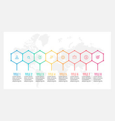 Business infographics timeline with 8 steps vector