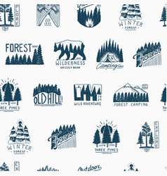 camping seamless pattern mountains coniferous vector image