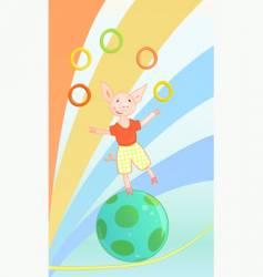 cartoon circus pig vector image vector image
