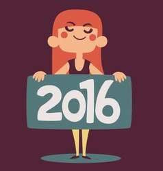 Cartoon Girl Celebrating Holding a 2016 New Year S vector
