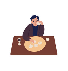 Cartoon male eat khinkali and drink wine sitting vector