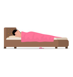 Cartoon sleeping woman in bed under blanket vector