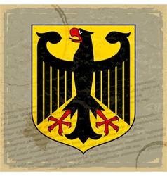 Coat of arms of Germany on the old postage card vector
