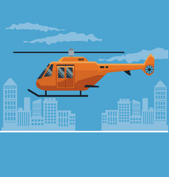 Color poster city landscape with helicopter in vector