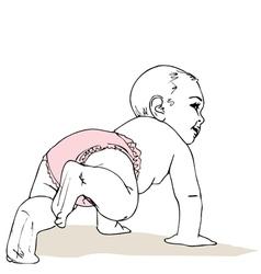 Crawling baby girl in diaper vector