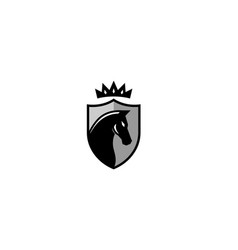 creative black horse shield crownlogo design vector image