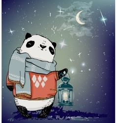 cute winter panda bear vector image