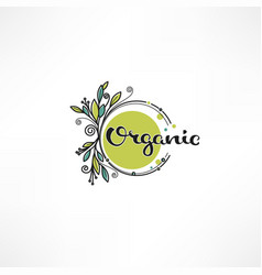 Doodle eco bio nature and organic leaves and vector