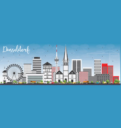 dusseldorf skyline with gray buildings and blue vector image