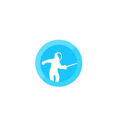 Fencing logo with fencer vector