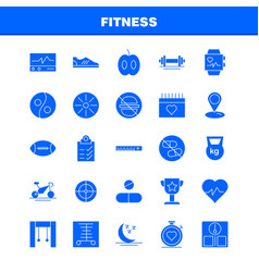 Fitness solid glyph icon pack for designers and vector