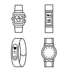 Fitness tracker icons set outline style vector