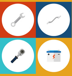 flat icon service set of ratchet accumulator vector image