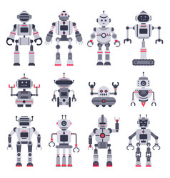 flat robots electronic robot toys cute chat bot vector image