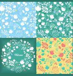 Floral seamless and round patterns set vector