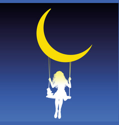 Girl swing moon vector