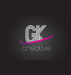 gk g k letter logo with lines design and purple vector image