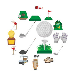 golf cartoon icons set vector image