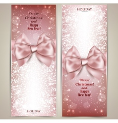 Greeting cards with bows and copy space vector image